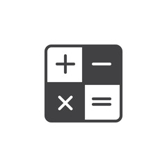 Calculator vector icon. filled flat sign for mobile concept and web design. Mathematical operations simple solid icon. Symbol, logo illustration. Pixel perfect vector graphics