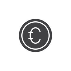 Euro coin money vector icon. filled flat sign for mobile concept and web design. Currency simple solid icon. Symbol, logo illustration. Pixel perfect vector graphics