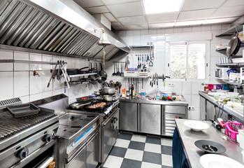 Work surface and kitchen equipments in the restaurant kitchen