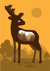 Deer in forest background with an abstract representation of the world.