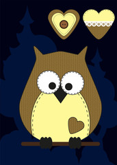 Cute cartoon owl in flat design for greeting card, invitation and logo with fabric texture.