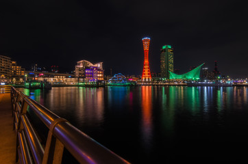 beautiful view of Port of Kobe Tower at night in Kansai, Osaka, Japan, landmark, landscape, cityscape and travel concept