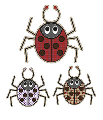 Cute cartoon spider in flat design for greeting card, invitation and logo with fabric texture.