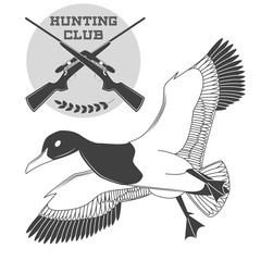 Vintage label with a duck, weapons for lucky hunting club.