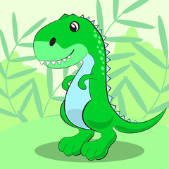 Cute dinosaur standing on a green meadow and smiling.