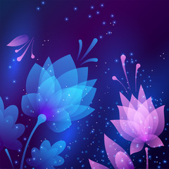 Beautiful futuristic night flowers. Abstract card.