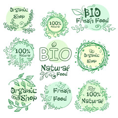 Set of logotypes elements hand-drawn bio, organic, natural food for your design.