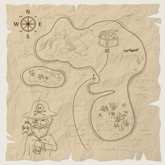 Pirate treasure map of the island on old paper.