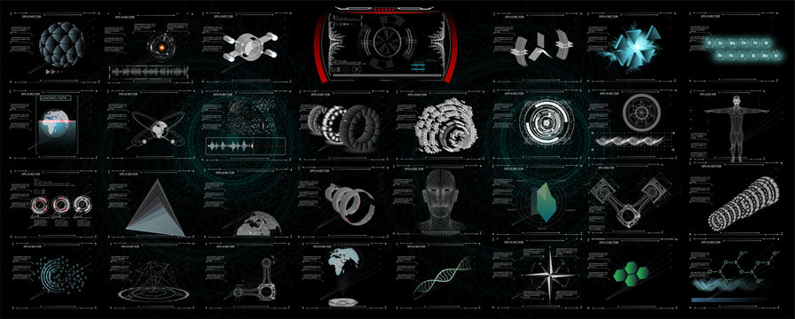 3D Set abstract HUD elements for UI UX design. Statistic and data, information infographic. Futuristic Sci-Fi user Interface for app Mechanical scheme HUD