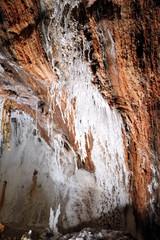 Salt cave in an old mine with white natural stalactites. Cardona's Salt Mountain Cultural Park. Cardona, Spain.