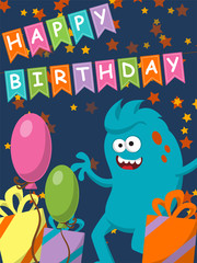 Funny monster with gifts and balloons. Happy Birthday.