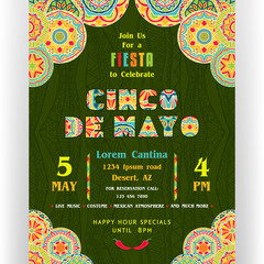 Cinco De Mayo announcing poster template. Ornate letters and Mexican style rich ornamented border.