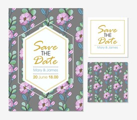 Set of greeting card and cards, vector wedding invitation design with flowers, buds and leaves. floral background with floral elements for text, background. Template. Frame.