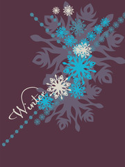 blue background with snowflakes in a cold winter. A card for Christmas or a holiday.
