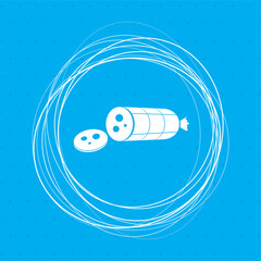 Smoked sausage sliced Icon on a blue background with abstract circles around and place for your text.