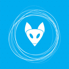 Fox icon on a blue background with abstract circles around and place for your text.