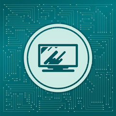Computer, monitor icon on a green background, with arrows in different directions. It appears the electronic board.