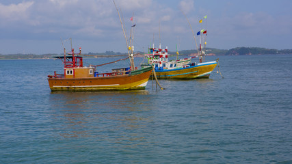 Fishing Boats in Weligama, Sri Lanka. Sri Lankan Fishing. Sea view from the Port.