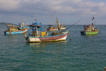 Fishing Boats in Weligama, Sri Lanka. Sri Lankan Fishing. Sea view from the Port.