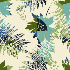 Abstract seamless pattern with leaves.