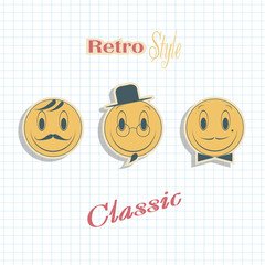 Faces with a smile . Retro emotions