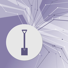 Shovel icon on purple abstract modern background. The lines in all directions. With room for your advertising.