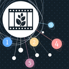 film Icon with the background to the point and infographic style.