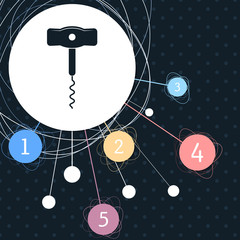 corkscrew icon with the background to the point and infographic style.