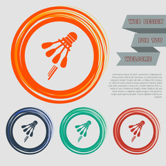 Shuttlecock, badminton, tennis icon on the red, blue, green, orange buttons for your website and design with space text.