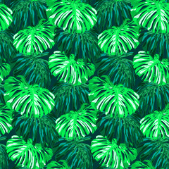 Seamless tropical hand drawn pattern with exotic leaves.