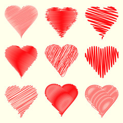 Nine different heart shapes collection specially for valentines day