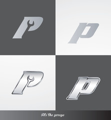 eps Vector image: initials (P) Fits the garage logo