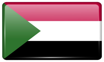 Flags Sudan in the form of a magnet on refrigerator with reflections light.