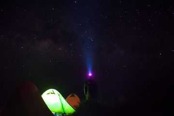 man stand up near green tent camping and  looking milky way star in night time