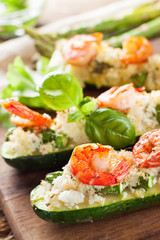 Grilled zucchini stuffed with shrimps  and cauliflower rice