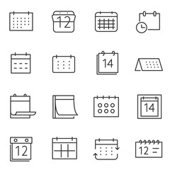 calendar icon set, thin line design. Line with Editable stroke
