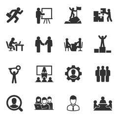 Business and people. Monochrome icons set. Work and success, simple symbols collection