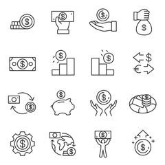 Dollar icon set. Money linear design. Line with editable stroke