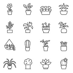 House plants icon set. Flower in pot linear design. Line with editable stroke