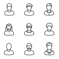 avatars of men icon set, linear design. Collection of different icons. Line with editable stroke