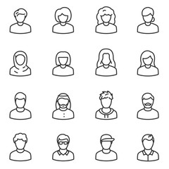 Male and female avatars icon set. Peoples linear design. Collection of different icons. Line with editable stroke