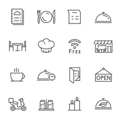 In de dag Restaurant Restaurant, icons set. Line with Editable stroke