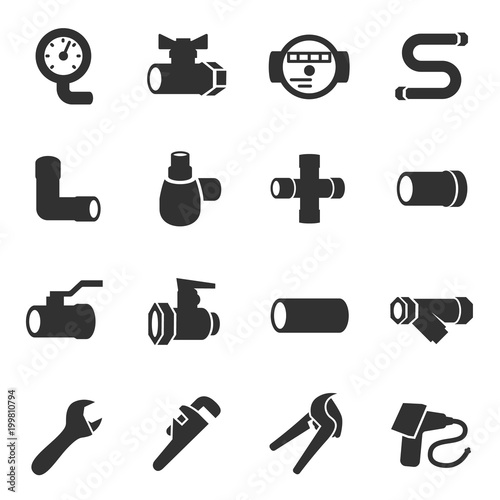 Sanitary Engineering Monochrome Icons Set Water Pipes Valves And