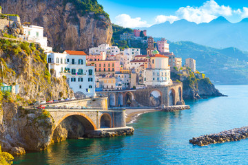 Printed kitchen splashbacks Coast Morning view of Amalfi cityscape on coast line of mediterranean sea, Italy