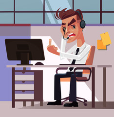 Angry mad frustration office worker businessman manager man character tired and anger showing obscene gesture middle finger. Hard work stress annoyance irritation workspace negative emotions concept