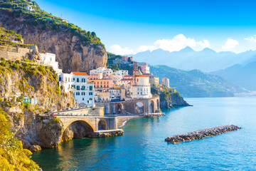 Poster de jardin Europe Méditérranéenne Morning view of Amalfi cityscape on coast line of mediterranean sea, Italy