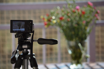 Vase of flowers through the lens of a compact camera on a tripod
