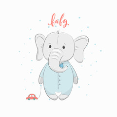 """Cute vector illustration with elephant baby for baby wear and invitation card with phrase """"Baby""""."""