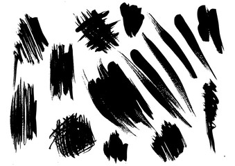 set different grunge brush strokes. Dirty artistic design elements isolated on white background. Black ink vector brush strokes. Black isolated paintbrush collection. Brush strokes isolated