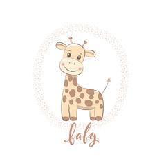 """Cute vector illustration with giraffe baby for baby wear and invitation card with phrase """"Baby""""."""